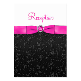 Black, Hot Pink and White Reception Card Business Card Template