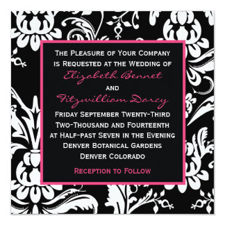 Black & Hot Pink Contemporary Damask Invitation