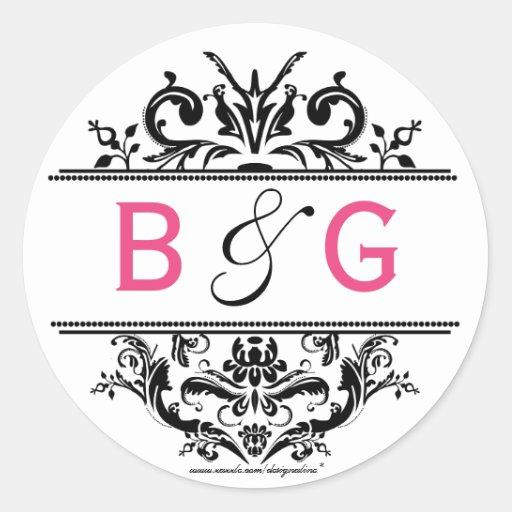 Black & Hot Pink Crest Envelope Seal Round Stickers