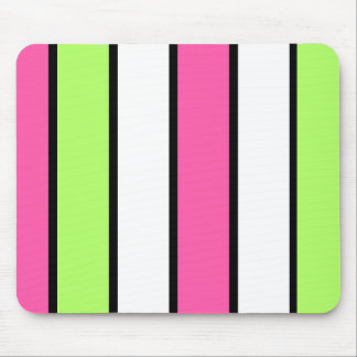 Black, hot pink, lime green and white stripes mouse pad