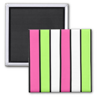Black, hot pink, lime green and white stripes square magnet