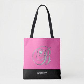 Black HOT PINK Monogrammed Letter Initial B Tote Bag