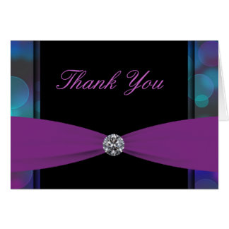 Black Hot Pink Purple Bubbles Hot Pink Thank You C Card