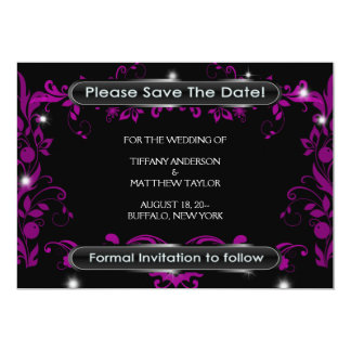 Black Hot Pink Save The Date Announcement