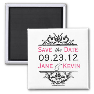 Black Hot Pink Save the Date Magnet