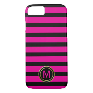 Black & Hot Pink Stripe Monogram iPhone 8/7 Case