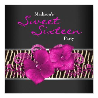 Black Hot Pink Zebra Sweet 16 Birthday Party Card