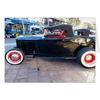 Black Hot Rod with White Wall Tires at Car Show Card