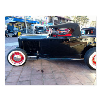 Black Hot Rod with White Wall Tires at Car Show Postcard