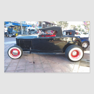 Black Hot Rod with White Wall Tires at Car Show Rectangular Sticker