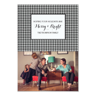 Black Houndstooth Holiday Photo Card