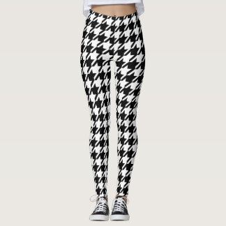 Black Houndstooth Pattern Leggings