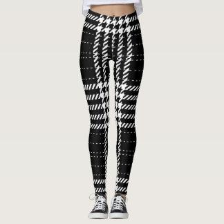 Black Houndstooth Traditional Pattern Yoga Leggings