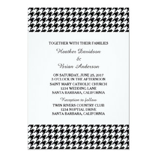 Black Houndstooth Wedding Invite
