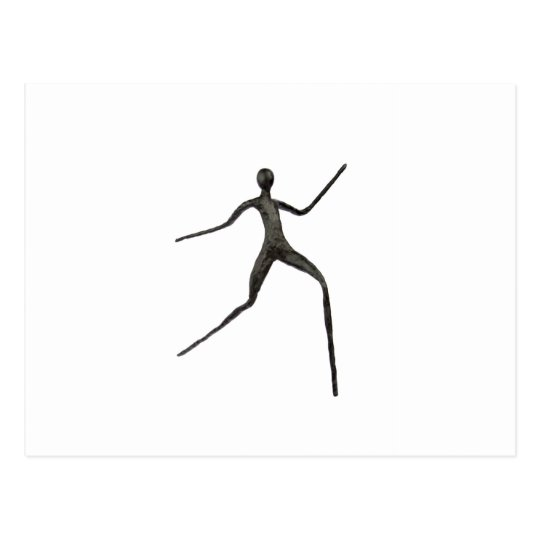 Black human wax model on white background postcard
