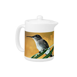 Black Hummer in Golden Sky Tea Pot