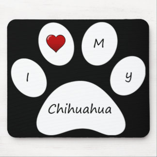 Black I Love My Chihuahua Mouse Pad