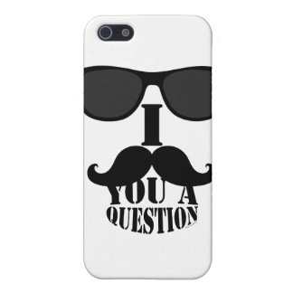 Black I Mustache You A Question with Sunglasses iPhone 5 Covers