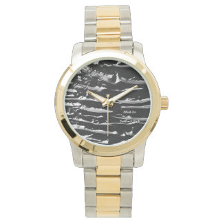 Black Ice Gold & Silver Band Bracelet Wrist Watch