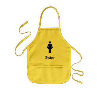 Black icon sister theme character Apron