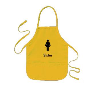 Black icon sister theme character Apron