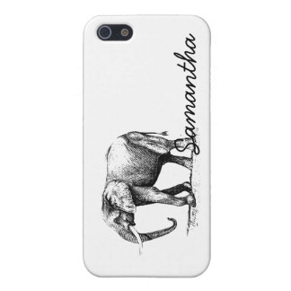 Black Illustration Of An Elephant iPhone 5 Cases