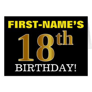 "Black, Imitation Gold ""18th BIRTHDAY"" Card"