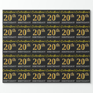 "Black, Imitation Gold ""20th BIRTHDAY"" Wrapping Paper"