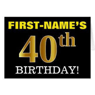 "Black, Imitation Gold ""40th BIRTHDAY"" Card"