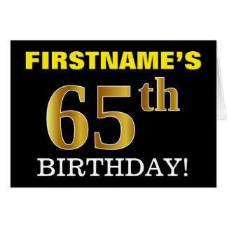 "Black, Imitation Gold ""65th BIRTHDAY"" Card"