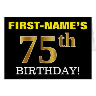 "Black, Imitation Gold ""75th BIRTHDAY"" Card"