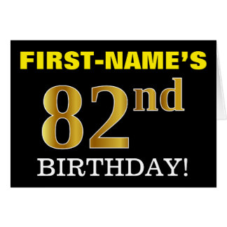 "Black, Imitation Gold ""82nd BIRTHDAY"" Card"