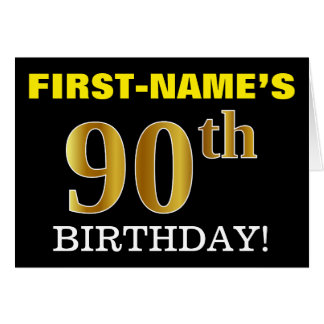 "Black, Imitation Gold ""90th BIRTHDAY"" Card"