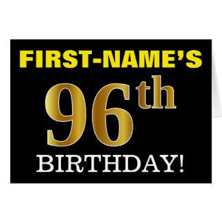 "Black, Imitation Gold ""96th BIRTHDAY"" Card"