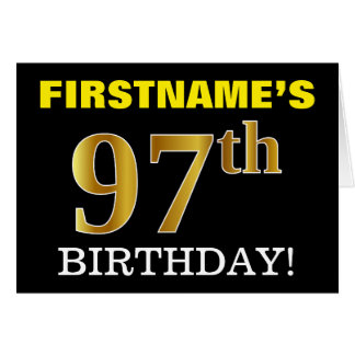 "Black, Imitation Gold ""97th BIRTHDAY"" Card"