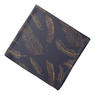 Black Indigo with Golden Feathers Kerchief