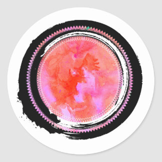Black Ink and Pastel Pink Opal Jewel Classic Round Sticker