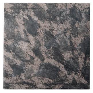 Black Ink on Brown Background Large Square Tile