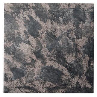 Black Ink on Brown Background Tile