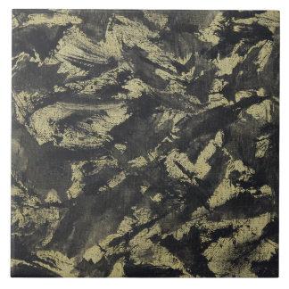Black Ink on Gold Background Large Square Tile
