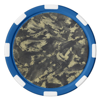 Black Ink on Gold Background Poker Chip Set