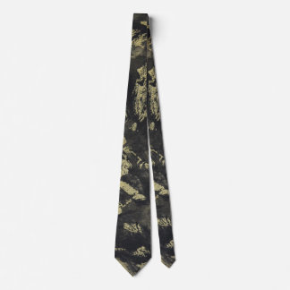 Black Ink on Gold Background Tie
