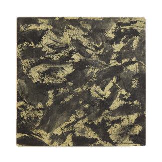 Black Ink on Gold Background Wood Coaster