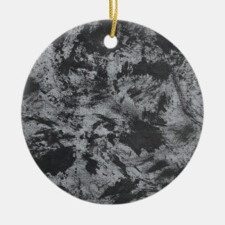 Black Ink on Grey Background Ceramic Ornament
