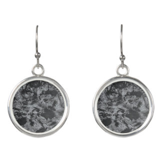 Black Ink on Grey Background Earrings