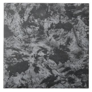 Black Ink on Grey Background Large Square Tile