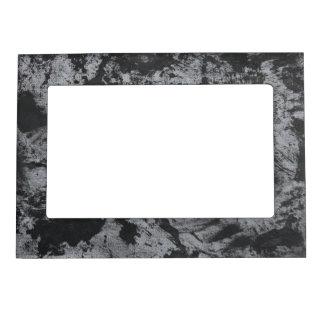 Black Ink on Grey Background Magnetic Picture Frame