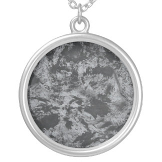Black Ink on Grey Background Silver Plated Necklace