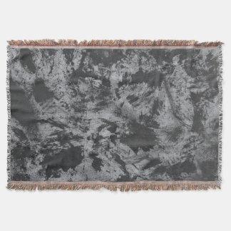 Black Ink on Grey Background Throw Blanket