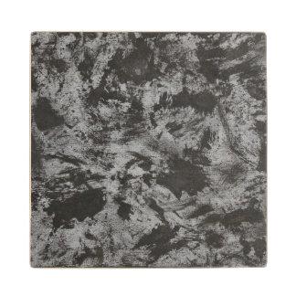 Black Ink on Grey Background Wood Coaster
